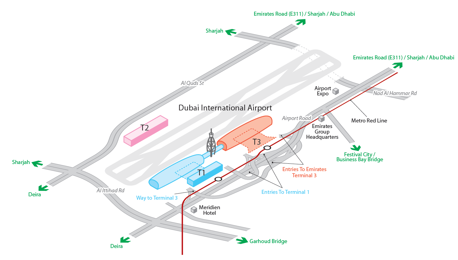 DXB Airport map