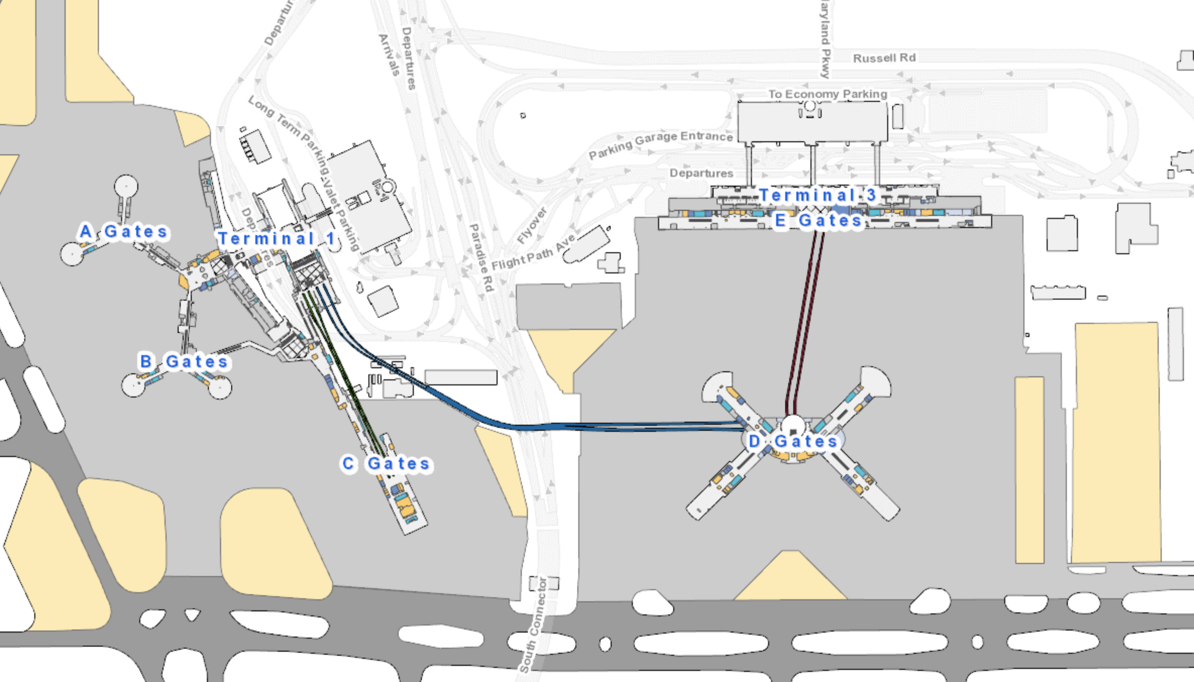 LAS Airport map