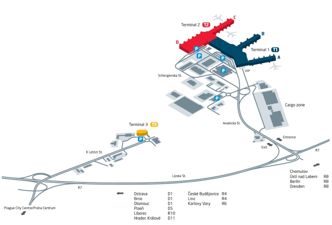 PRG Airport map